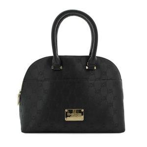 Bebe Black Jenna Embossed Dome Satchel Bag